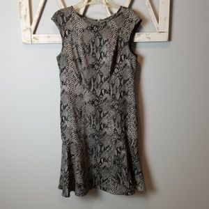 Ann Taylor snakeskin flare skirt dress
